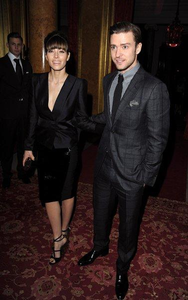 Jessica Biel and Justin Timberlake at the Tom Ford runway show during London Fashion Week.
