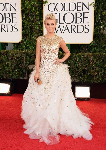 The gold-embroidered top of Julianne Hough's white Monique Lhuillier gown was lovely, but the skirt was a mess of tissue-like organza.