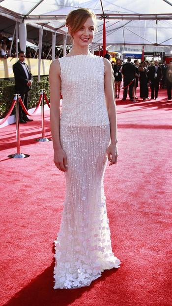 Jayma Mays in a fun, modish take on the white gown trend by Georges Hobeika.