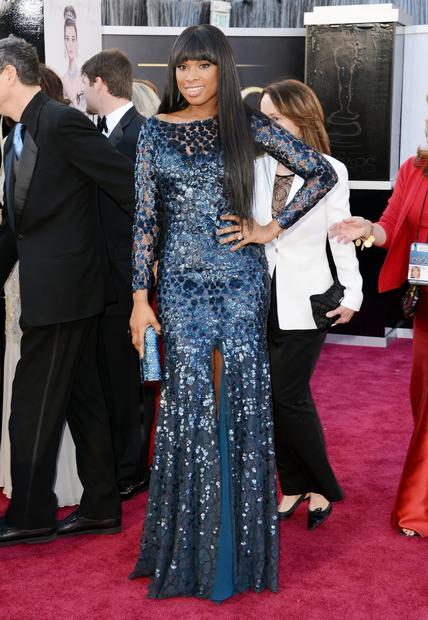 Oscars 2013 red carpet: Jennifer Hudson in Roberto Cavalli.