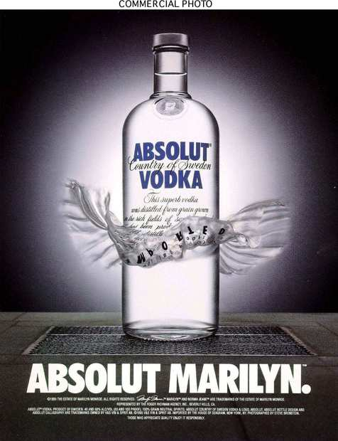 "An ""Absolut Marilyn"" ad shows the Swedish vodka bottle with its own lifted glass ""skirt,"" recalling the subway-grate scene from the 1955 film ""The Seven Year Itch."""