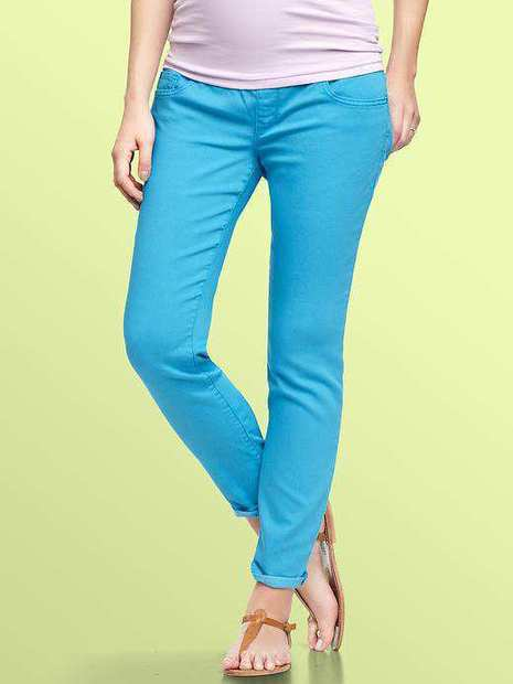GAP Maternity 1969 nude demi panel always skinny jeans, $69.95. Gap Maternity 1969 Premium Jeans run in the $70 range.