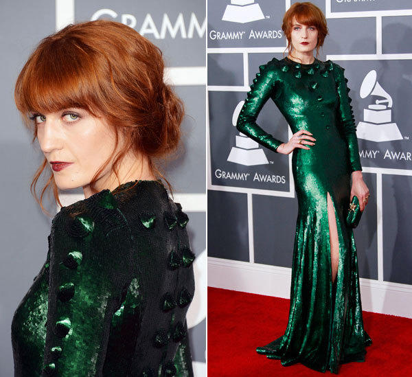 Florence Welch is the night's fashion winner so far, paying homage perhaps to the year of the snake in a poison green sequin gown by Riccardo Tisci for Givenchy. With reptilian 3-D stud-like details, the long sleeve style is stunningly unique. It should be, it was made especially for her, and the color rocks with her red hair.