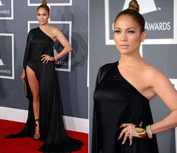 Leave it to J Lo to reprise Angelina Jolie's famously leggy red carpet stance. J Lo wore a black, one-shoulder Anthony Vaccarello gown slit up to there.