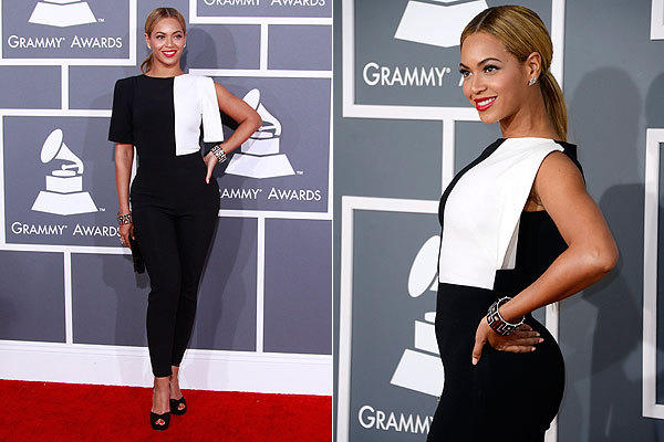 Beyoncé  shocked us all not with deep décolletage, but by wearing a graphic black and white crepe jumpsuit by Osman Studio that played into the season's 1960s Op Art fashion trend.