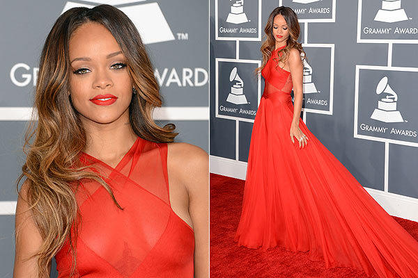 There is nothing sexier than Rihanna in that red-hot gown by fashion insider favorite Azzedine Alaia. At first glance, the cross-front style didn't seem to reveal too much. But upon further inspection, the gossamer-like fabric hinted at everything. With Rihanna's soft, wavy hairstyle and minimal makeup, it was perfection.
