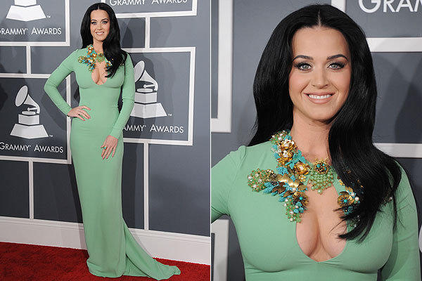 Katy Perry took inspiration from Priscilla Presley in the 1970s, wearing a long-sleeve mint green gown by Gucci.