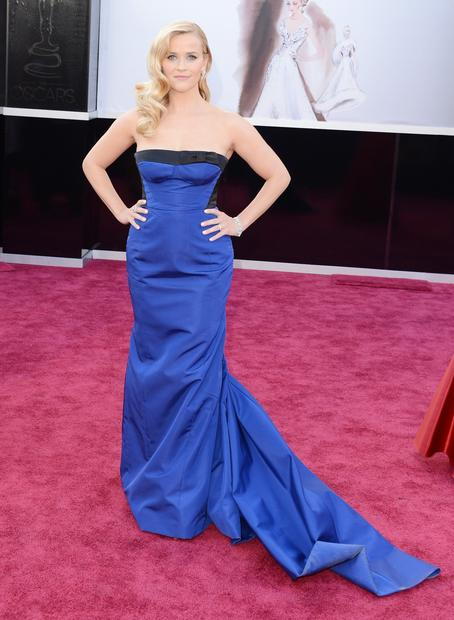 Oscars 2013 red carpet: Reese Witherspoon in a Louis Vuitton dress and jewelry.