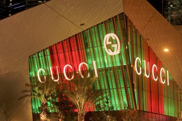View of the outside of Gucci store at Crystals in the CityCenter Las Vegas.
