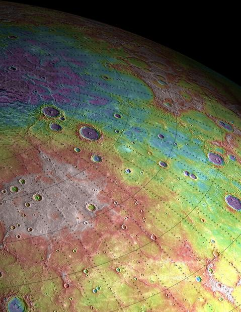 A perspective view of ancient volcanic plains in the northern high latitudes of the planet Mercury, revealed by instruments aboard the Messenger spacecraft.