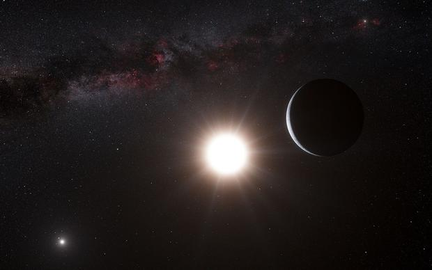An artist's drawing of an exoplanet that is to close to its star, Alpha Centauri B, for liquid water to exist.