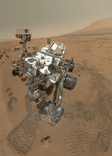 The Curiosity rover on Mars shot 55 images that were stitched together to make this self-portrait at a site called Rocknest in Gale Crater.