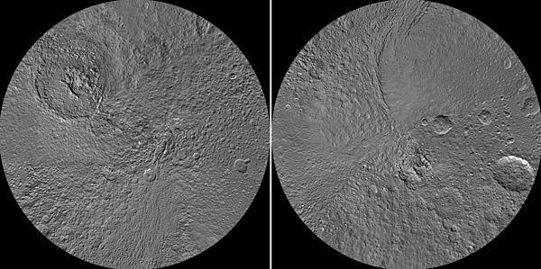 The northern, left, and southern hemispheres of Saturns' moon Tethys, mosaicked from  Cassini orbiter mages.
