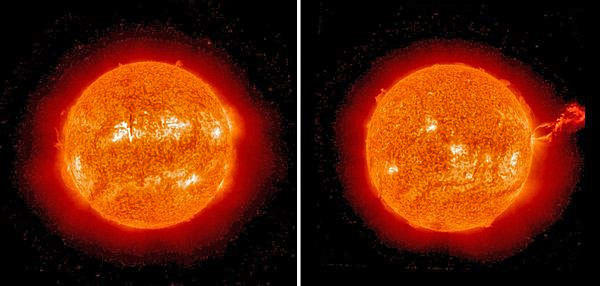 A large loop of electrified gas, or plasma, stretching out from the Sun and held in place by a magnetic field.