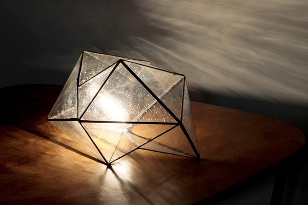 "Koharik's prototype for the Geometric lamp made with seeded glass sells for $550. ""It can be used as a table lamp or a pendant,"" the designer says, ""and I also like to use them on the floor to fill dark corners of a room."""
