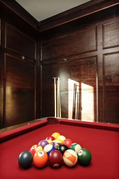 The billiards room, with new paneling.