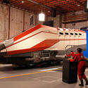 The Starspeeder 3000 transport ship in a Hollywood soundstage during filming for a key sequence for the new Star Tours 2 attraction.
