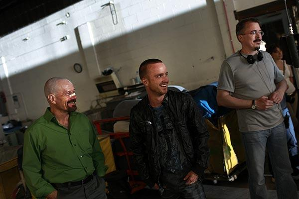 Bryan Cranston, left, and Aaron Paul with show creator and episode director Vince Gilligan.