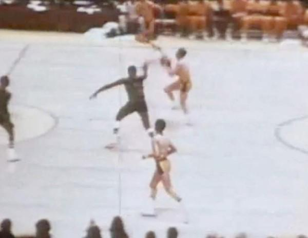 "The setting: With three seconds left in regulation at the Forum, Dave DeBusschere made a 20-foot shot to give the Knicks a two-point lead. <a href=""http://projects.latimes.com/lakers/player/jerry-west/"">West</a>, with the Lakers out of timeouts, took the inbounds pass, dribbled near midcourt and put up an arching one-handed shot from about 60 feet. It went in, sending the game to overtime.<br> <br> The significance: Unfortunately for the Lakers, they couldn't ride the momentum from West's shot (in the pre three-point days) to victory. Their 111-108 loss left them in a 2-1 deficit in the series, which they lost in seven games. West, who sprained his wrist in overtime, played all 53 minutes and missed all five shots he took in the extra session."