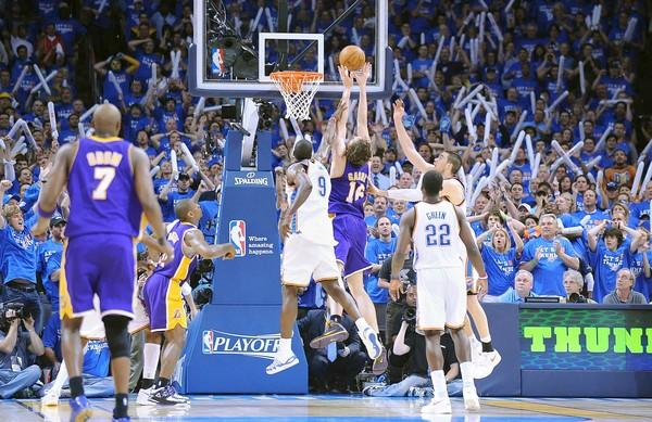 "The setting: <a href=""http://projects.latimes.com/lakers/player/pau-gasol/"">Gasol</a> grabbed a missed shot by Kobe Bryant and made a layup with 0.5 of a second left to give the Lakers a 95-94 victory at Oklahoma City.<br> <br> The significance: The Lakers clinched the series and avoided a Game 7 against a Thunder team that gave them all sorts of problems with its athleticism and quickness. Gasol struggled for much of Game 6, scoring only nine points on four-for-11 shooting. But his rebound off Bryant's miss was his 18th of the game."