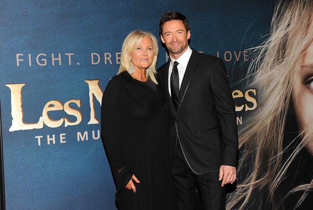 Hugh Jackman, who plays Jean Valjean, and Deborra-Lee Furness.