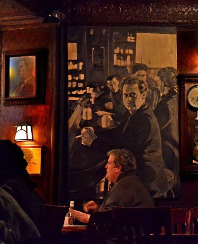 Artwork hanging inside White Horse Tavern depicts Thomas at the bar.