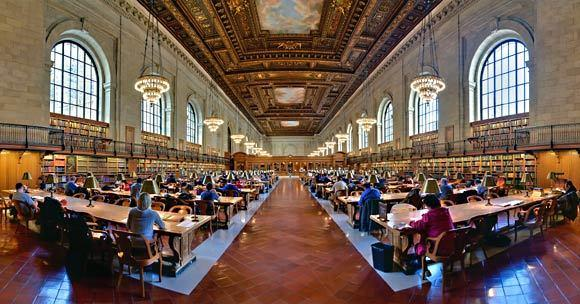 The most spectacular space in the New York Public Library's main building is the Rose Main Reading Room, which holds more than 600 seats under its 52-foot ceiling and was dramatically restored in 1998.