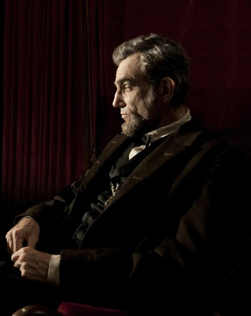 "Daniel Day-Lewis portraying Abraham Lincoln in Steven Spielberg's movie ""Lincoln."""