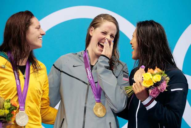 Medal winners in the women's 100m backstroke, from left:  Silver medalist Emily Seebohm of Australia,  gold medalist Missy Franklin of the United States and bronze medalist Aya Terakawa of Japan.