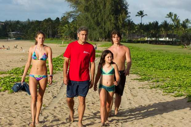 """The Descendants,"" with Shailene Woodley, left, George Clooney, Amara Miller and Nick Kraus, is set on Kauai. The film uses real island locations."