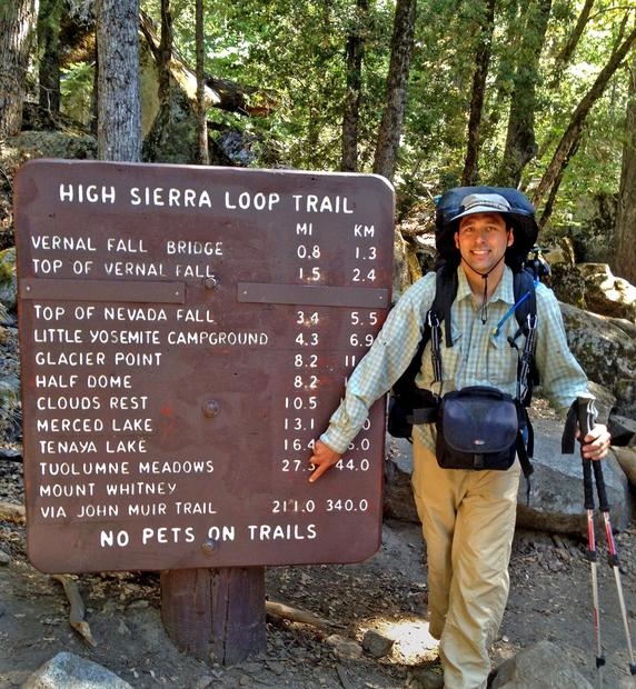Photographer Jeremy Evans at Happy Isles in Yosemite Valley, his starting point. Evans traveled solo more than 200 miles on the John Muir Trail.