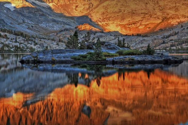 Garnet Lake ablaze with a reflection of its colorful surroundings.