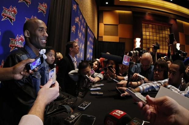 Lakers guard Kobe Bryant, participating in his 13th All-Star game, takes part in an interview session on Friday at the Toyota Center in Houston.