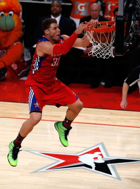 West forward Blake Griffin of the Clippers powers down a dunk late in the NBA All-Star game on Sunday night at the Toyota Center.