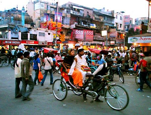 Chandni Chowk is one of the oldest and busiest markets in Old Delhi. Expect to see rickshaws and cows on the roads.