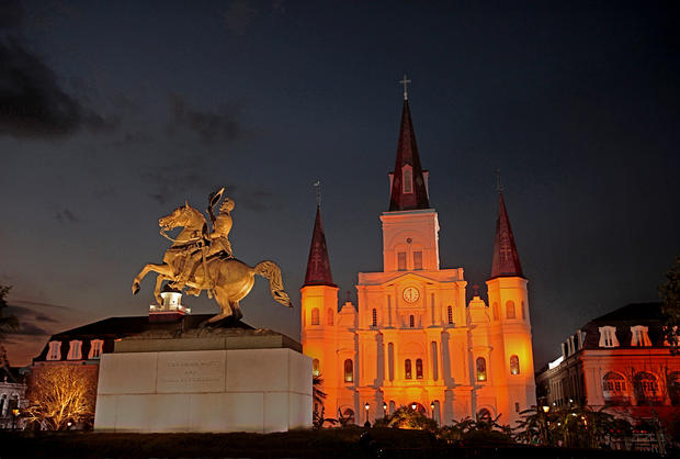 Andrew Jackson tips his cap to the Crescent City from New Orleans'  Jackson Square. Facing the square is St. Louis Cathedral.