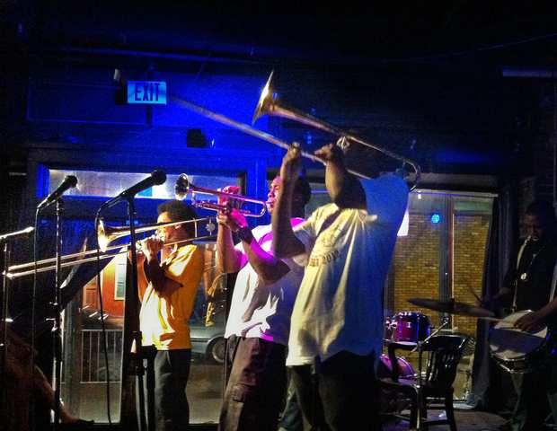 The Young Fellaz Brass Band performs at Vaso on Frenchmen Street. The band plays long, spirited sets and can sometimes be seen performing on the streets around town.
