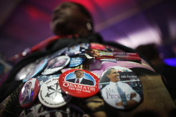 Janice Gladney of Dallas shows off her Obama buttons at the National Day of Service on Saturday.