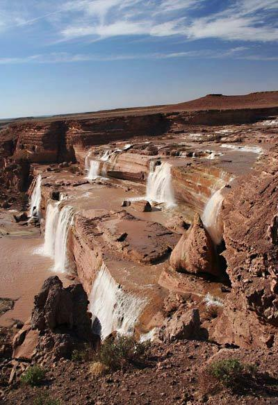 Grand Falls, seen here in April, is an impressive sight to behold during its peak periods, with its multiple levels and drops.