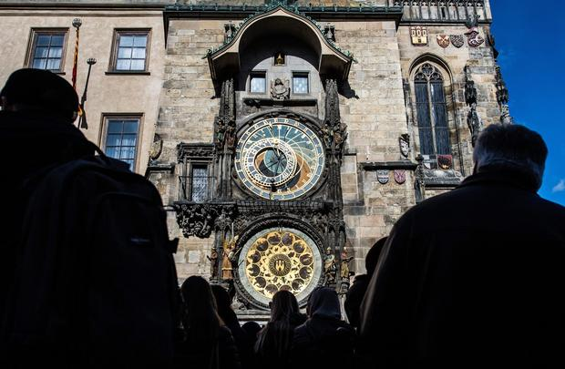 "Built in 1410, the apparatus is the world's oldest functioning astronomical clock. It adorns the facade of the Old Town Hall of Prague's Old Town Square. The clock's astronomical dial tracks the motion of the sun, moon and stars. Above the dial, statues of the 12 apostles appear at the hour every hour from 9 a.m. to 9 p.m. <a href=""/travel/deals/la-trb-offbeat-traveler-prague-astronomical-clock-20120120,0,3538685.photogallery""><span style=""color: #2262CC;"">More photos...</span></a>"