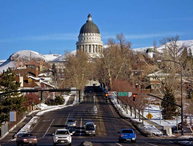 The Utah State Capitol dome in Salt Lake City.