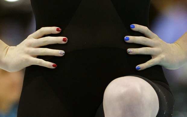 U.S. swimmer Missy Franklin represents her country with a red, white, and blue manicure.
