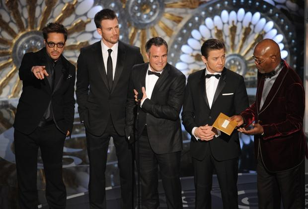 """The Avengers"" actors, from left, Robert Downey Jr., Chris Evans, Mark Ruffalo, Jeremy Renner and Samuel L. Jackson present the Oscars for cinematography and visual effects."