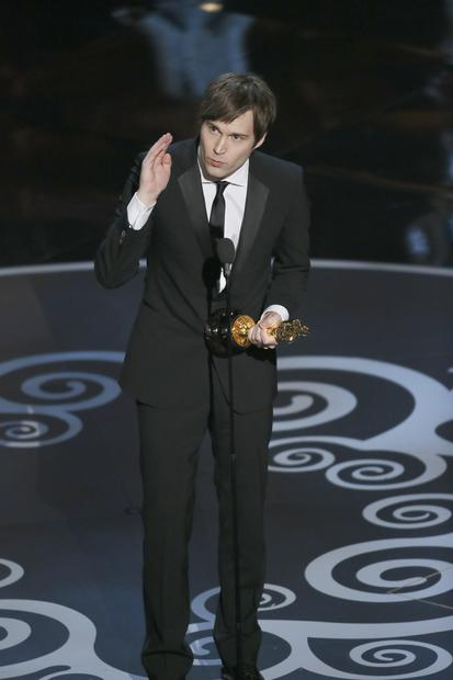"Shawn Christensen accepts the Oscar for live action short film for ""Curfew."""