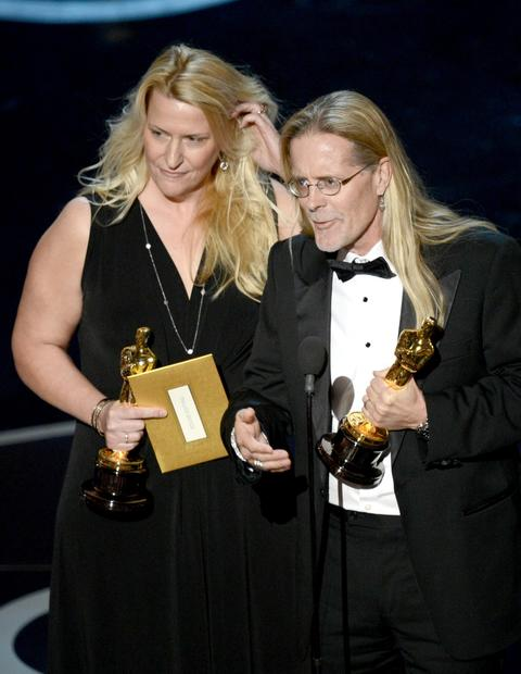 "Per Hallberg and Karen Baker Landers and accept the Oscar for sound editing for ""Skyfall."" The pair tied with Paul N.J. Ottosson, who won in the same category for ""Zero Dark Thirty.""<br><br>