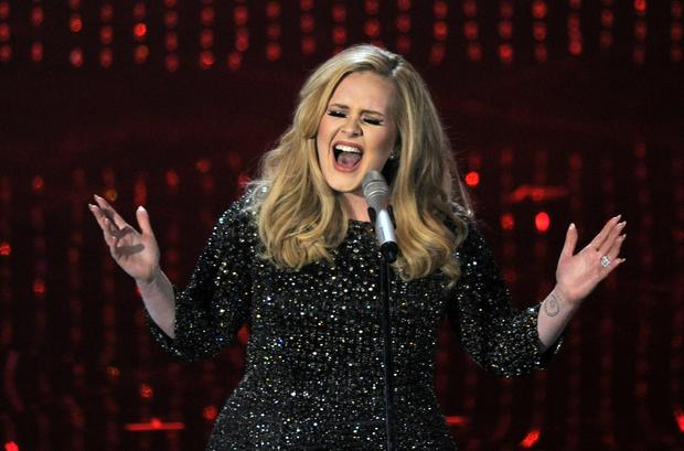 "Adele performs ""Skyfall"" during the Oscar show."