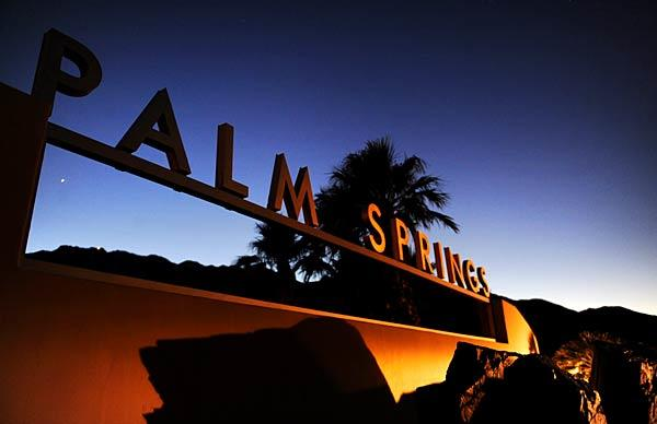The sign along Highway 111 greets visitors as they enter Palm Springs.
