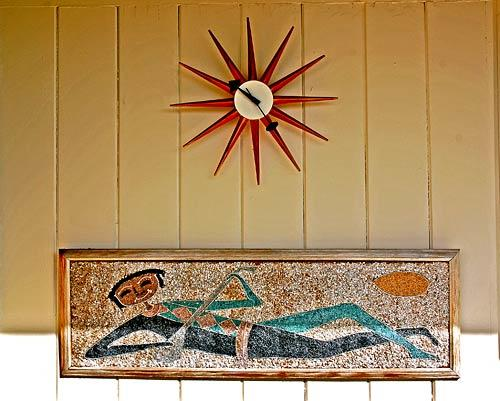 Del Marcos Hotel is rich with midcentury details, such as this clock and artwork.