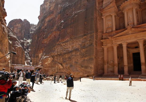President  Obama stops to look at the Treasury during his tour of the ancient city of Petra.