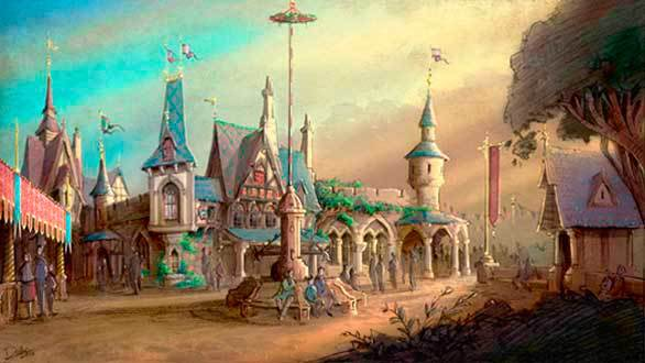 The Fantasy Faire village at Disneyland will feature Tudor cottages, flag-topped turreted towers and heraldry-draped pavilions that will thematically blend in with the nearby Gothic Revival castle.